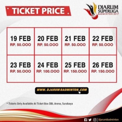 Ticket Price Djarum Superliga 2017
